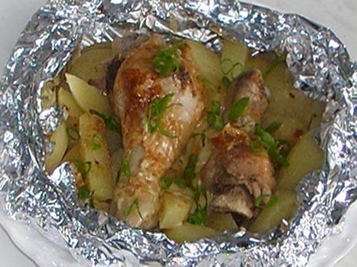 Картофель и курица в фольге в духовке рецепт